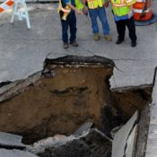 Faulty Sewer Main Blamed for Sinkhole!